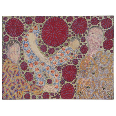 Raffaele D'Onofrio Mixed Media Painting of Figures and Patterns