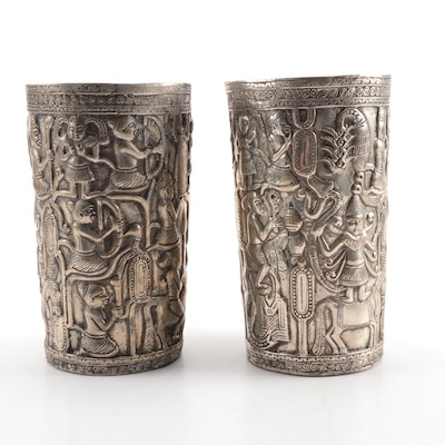 Pair of Southeast Asian Repoussé Silver Plate Vases