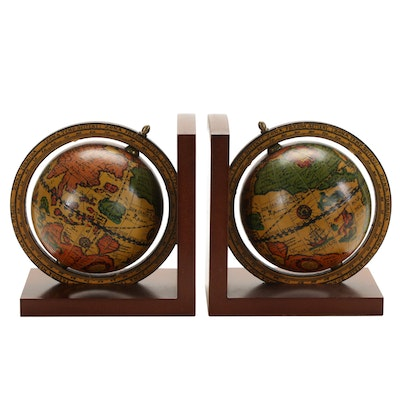 Pair of Old World Globe Wooden Bookends