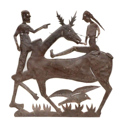 Gabriel Bien-Aime Metal Cut-Out Relief Sculpture of Figures with Deer and Bird