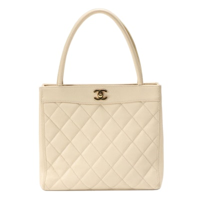 Chanel Turnlock Tote in Ivory Quilted Caviar Leather