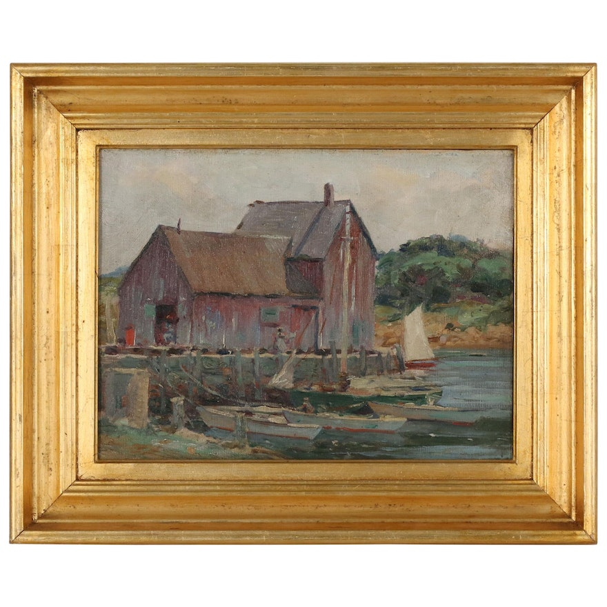 Oil Painting of Boats at Wharf with Fishing Shack