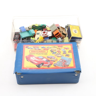 Matchbox and Hot Wheels Die-Cast and Plastic Model Cars with Storage Case