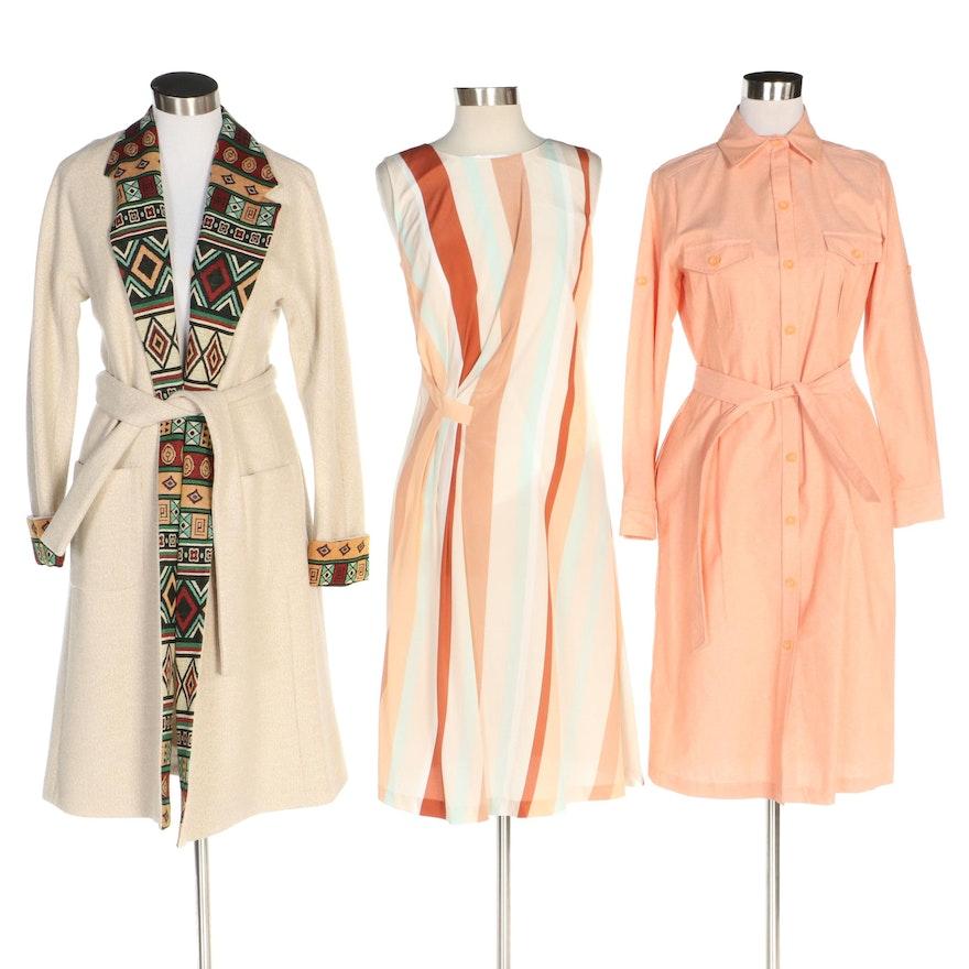 J. Peterman Italian Wool Blend Coat, Striped Silk and Chambray Shirt Dresses