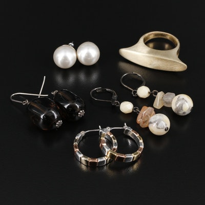 Selection of Earrings and Ring Including Sterling, Smoky and Rutilated Quartz