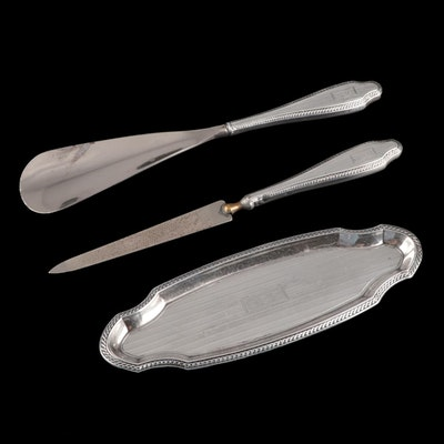 R. Blackinton & Co. Sterling Silver Tray with Nail File and Shoe Horn