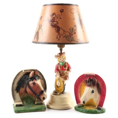 Cowgirl Rodeo Chalkware Lamp with Horseshoe Figurines, Mid-20th Century