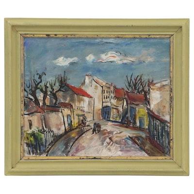Marion Huse Street Scene Oil Painting, Mid 20th Century