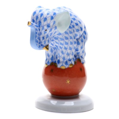 "Herend Blue Fishnet with Gold ""Elephant on Ball"" Porcelain Figurine"
