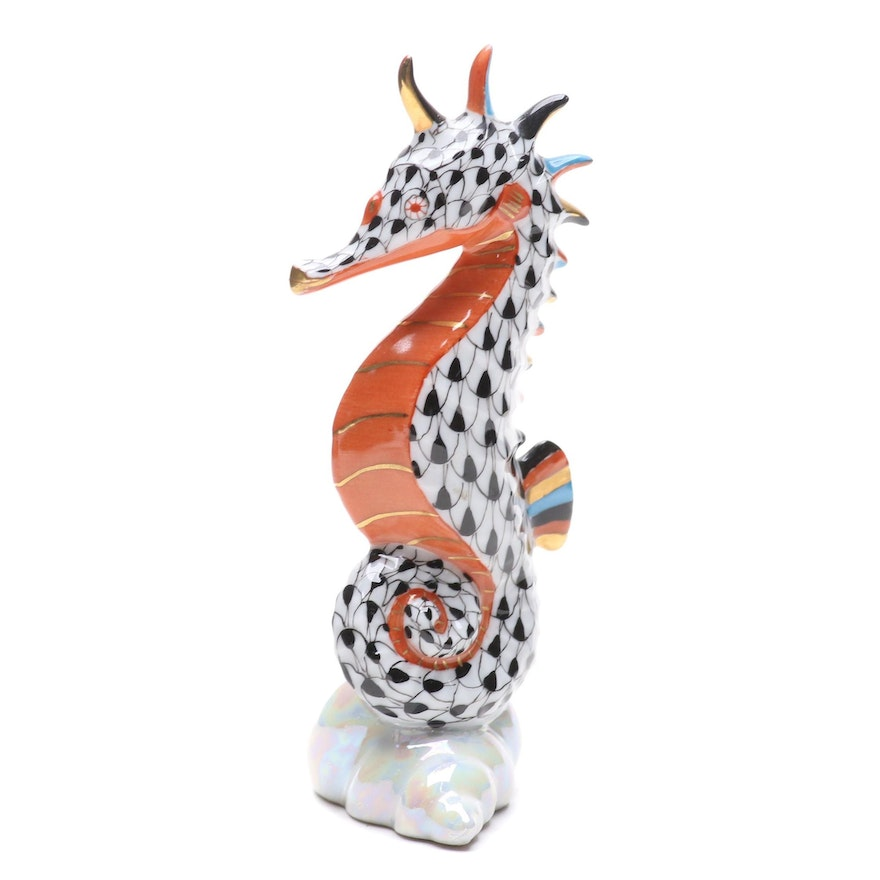 """Herend Black Fishnet with Terracotta """"Seahorse"""" Porcelain Figurine, May 1998"""