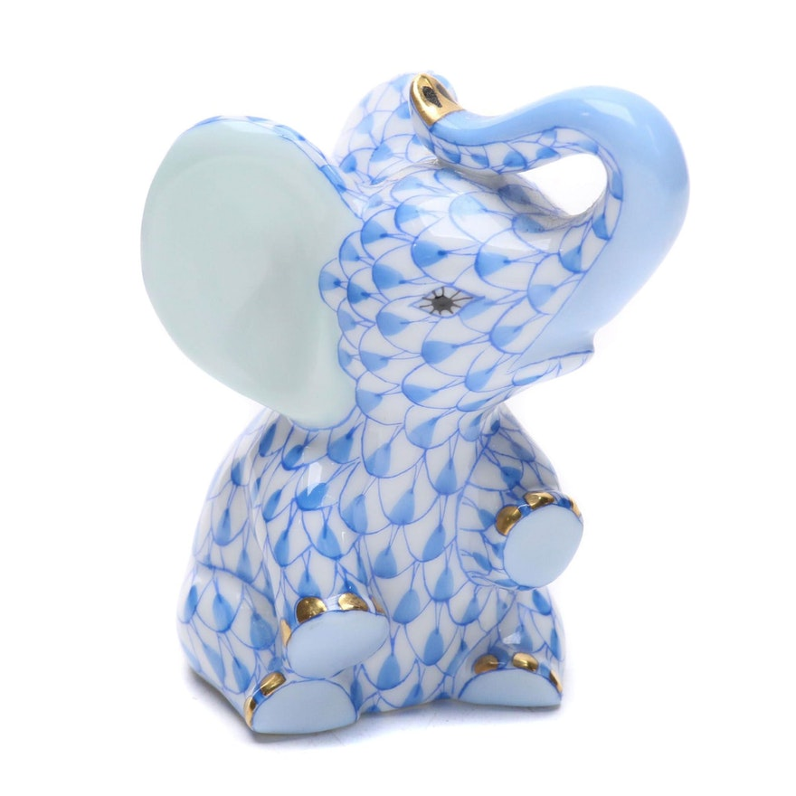"Herend Blue Fishnet with Gold ""Baby Elephant"" Porcelain Figurine, March 2000"