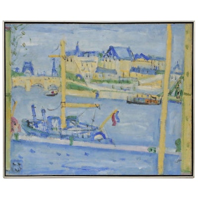 Paul Crotto Post Impressionist Harbor Scene Oil Painting