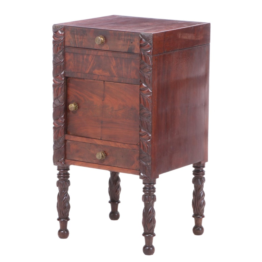 American Late Classical Carved and Figured Mahogany Enclosed Washstand