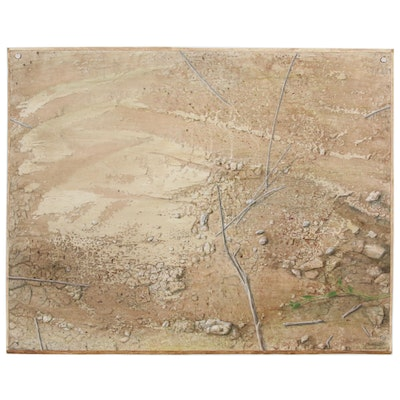 "Gibbs Milliken Texas Landscape Acrylic Painting ""Earth Surface with Ants"", 1973"