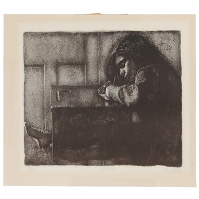 "Lithograph of Girl at Desk ""Wendy"""
