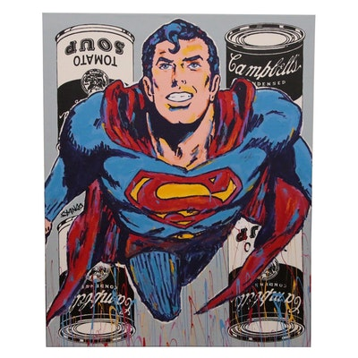 John Stango Monumental Pop Art Acrylic Painting of Superman