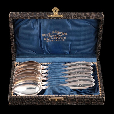 German Wilhelm Härter Coin Silver Spoons with Presentation Case