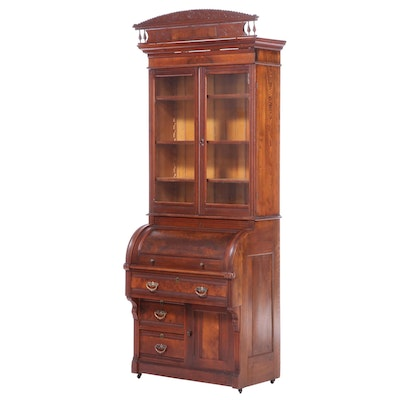 Victorian Walnut and Burl Walnut Cylinder Secretary and Bookcase