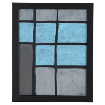Kevin Overbeck Geometric Abstract Oil Pastel Painting