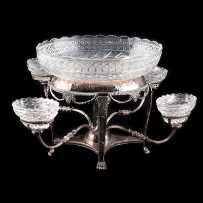 George III Style Silver Plate and Cut Glass Epergne, Late 19th Century