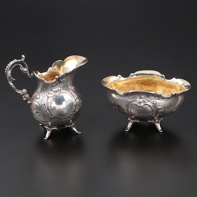 Swedish Baroque Style 800 Silver Cream and Sugar with Gold Wash Interiors, 1952