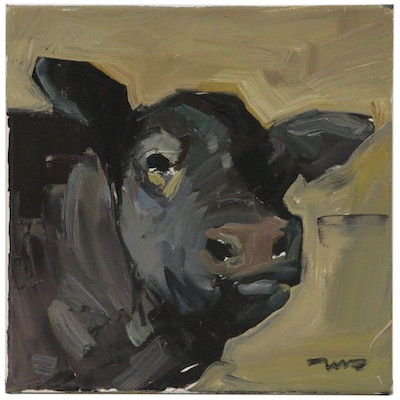 "Jose Trujillo Oil Painting ""Brown Cow"""