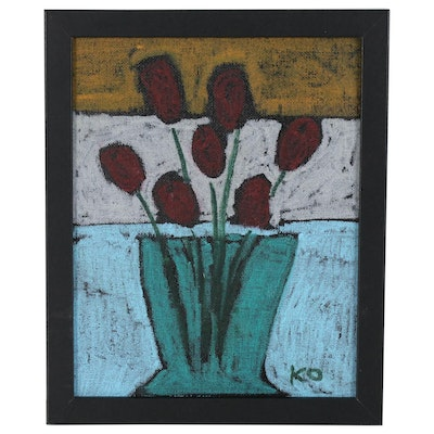"""Kevin Overbeck Oil Pastel Painting """"Flowers in Vase"""""""
