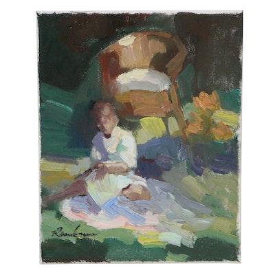 Sally Rosenbaum Oil Painting of Figure in Garden
