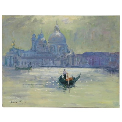 """Nino Pippa Oil Painting """"Venice - Entering the Grand Canal"""""""