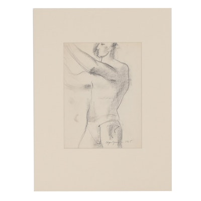 Edgar Yaeger Graphite Figure Study Drawing, 1925