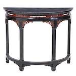 Chinese Black and Red Lacquered Demilune Console Table