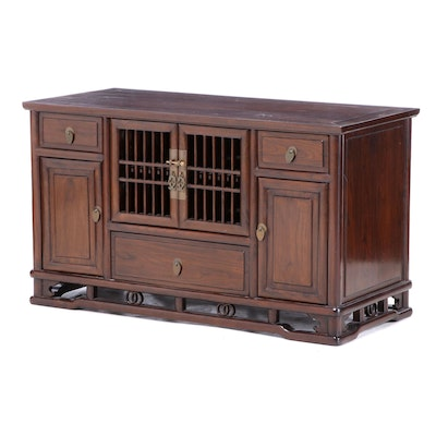 Chinese Stained Wood Media Console