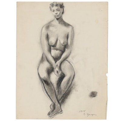 Edgar Yaeger Charcoal Figure Drawing, 1938