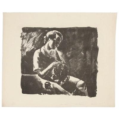 "Arthur Helwig Lithograph ""Girl Knitting"", circa 1936"