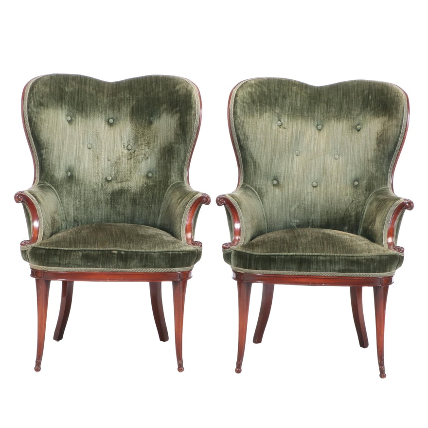 Pair of Hollywood Regency Style Mahogany-Stained Armchairs