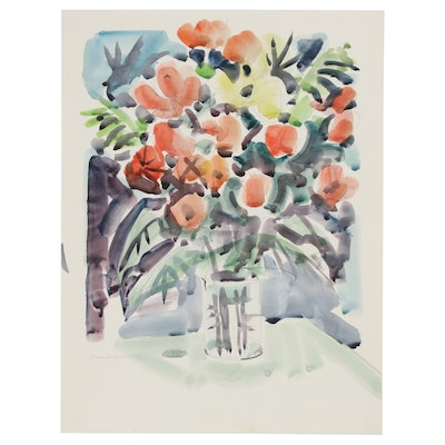 Jack Meanwell Floral Still Life Watercolor Painting, 1994