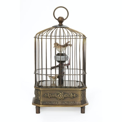 Singing Birds in Cage Automaton Brass Music Box, Possibly German, circa 1900s