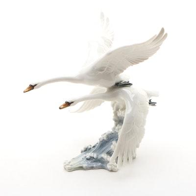 "Hutschenreuther ""Swans in Flight"" Porcelain Figurine Designed by Hans Achtziger"