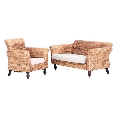 Woven Banana Leaf Sofa and Arm Chair