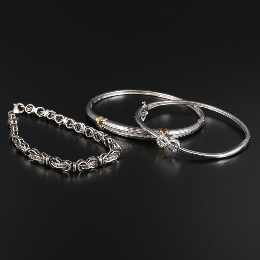 Sterling Silver 1.12 CTW Diamond Bracelet and Bangles