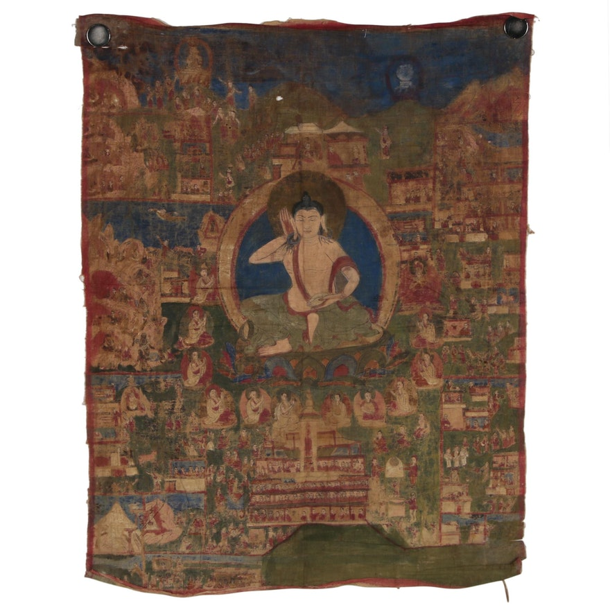 Tibetan Thangka Painting Depicting the Life of Milarepa, 18th to 19th Century