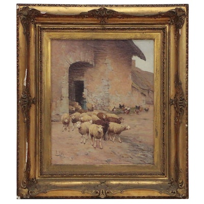 Edouard Pail Oil Painting of Sheep