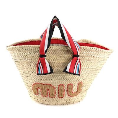 Miu Miu Ribbon-Handle Woven Straw Shopper Tote Bag