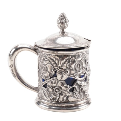 Unger Brothers Sterling Silver and Cobalt Glass Mustard Pot