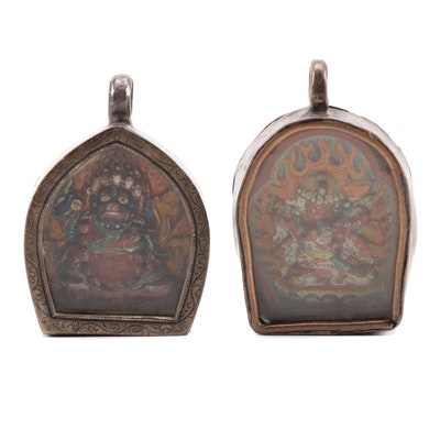 Two Tibetan Buddhist Reliquary Pendants, 19th Century