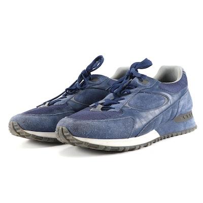 Men's Louis Vuitton Navy Suede Damier-Trimmed Runaway Sneakers