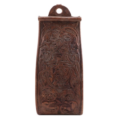 Northern European Carved Treen Wall Hanging, 19th Century