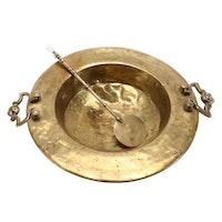Brass Brazier Insert and Stir Spoon, 19th Century