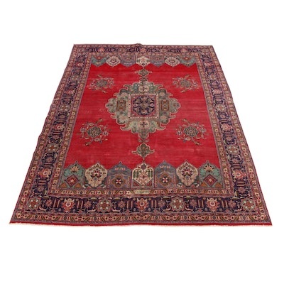 9'10 x 13'1 Hand-Knotted Persian Tabriz Signed Room Size Rug, 1960s