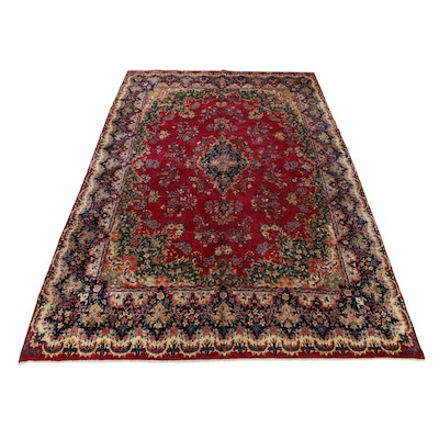 9'8 x 16'2 Hand-Knotted Persian Yazd Kerman Palace Size Rug, 1960s